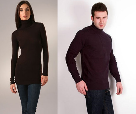 Men and women use turtleneck clothes